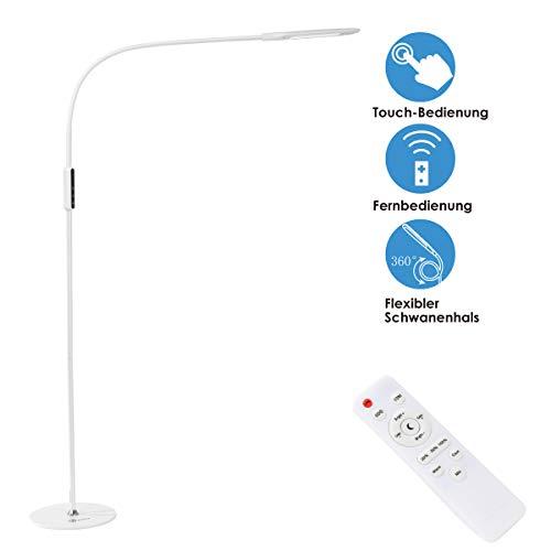 imiGY 9W Stehlampe Led Dimmbar, Led Stehlampe Dimmbar Fernbedienung, Flexible Schwanenhals Licht mit Touch, 5-Level-Helligkeit und Farbtemperatur Dimmbare Eye-Care-Technologie Licht, Weiß