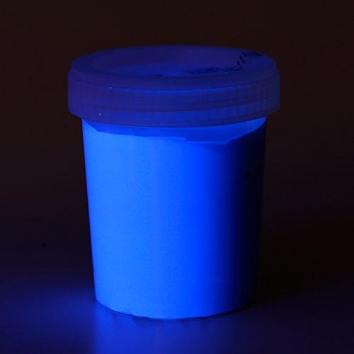 decomonkey   100 ml Fluoreszierende Schwarzlicht Wandfarbe und für Kunst, Holz, Papier und Wohnraum   Neon Leuchtfarben mit Glow-Effekt   Fluoreszierende Farbe   Farbe: blau
