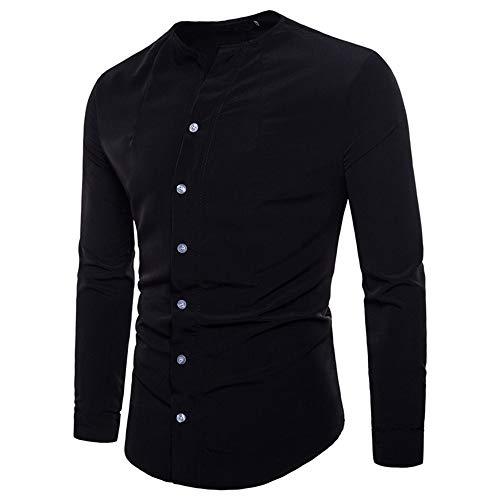 iHENGH Maglione 2019 Nuovo Manica Lunga Moda Casual Uomo Solido Felpa Cotone Semplice Cotone T-Shirt King Shirt Man Hoodie Poliestere Ragazzo Primavera Festa(Nero,Large)