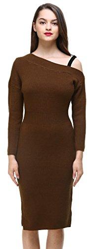 Vogueearth Donna's Lungo Manica Slim-Fit Strapless Knit Maglieria Sweater Vestito Pullover Caffè