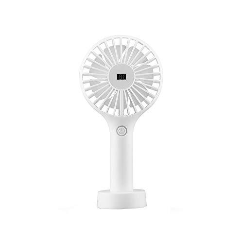 CAOQAO Mini Desktop Avce LED-Anzeige Tragbarer Lüfter USB-Lüfter, 3 Geschwindigkeiten einstellbar Tragbarer Lüfter Wiederaufladbar, Für Studenten, Büro, Zuhause, Gehen, Wandern, Camping -