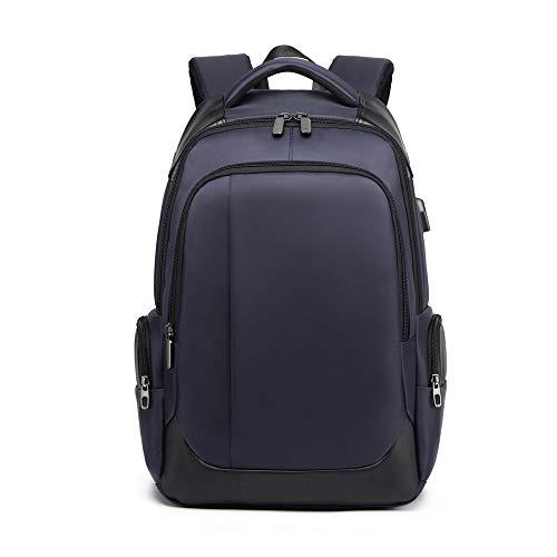DONZ Herren Damen Laptop Rucksack Schulrucksack Canvas 15.6 Zoll Laptoprucksack Business Backpack Daypack Reiserucksack mit USB-Ladeanschluss,Blue