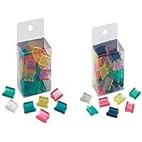 Muelles para sujetar papel fasteners de poliestireno, transparentes y de colores, para encuadernadora/clasificadora, 50 unidades de 4,8 mm