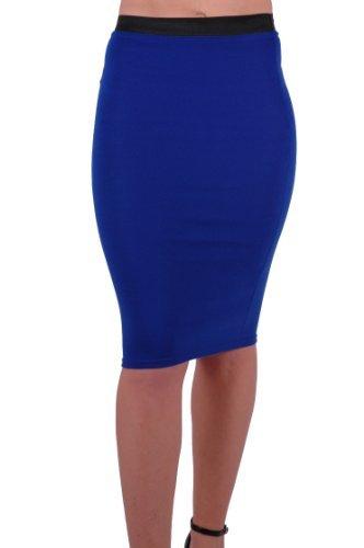 Eye Catch - Ezra Womens Jersey Bodycon Stretch Tube Midi Pencil Skirt Royal Blue M/L (Blue Royal Pencil Skirt)
