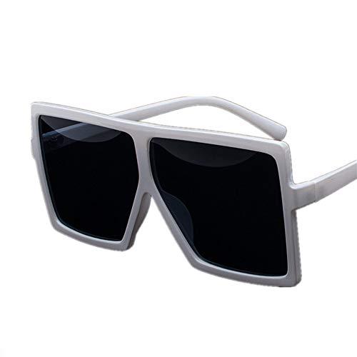 QDE Sonnenbrillen Oversized Sunglasses Women Retro Gradient Sun Glasses Men Vintage Shades Eyewear Big Frame Glasses,White