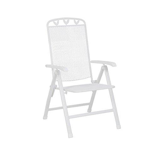 greemotion Gartensessel Toulouse stapelbar - Hochlehner Klappstuhl Metall mit Kunststoff Beschichtung in Weiß - Klappsessel Garten & Terrasse bis 110 - Klappstühle Weiß