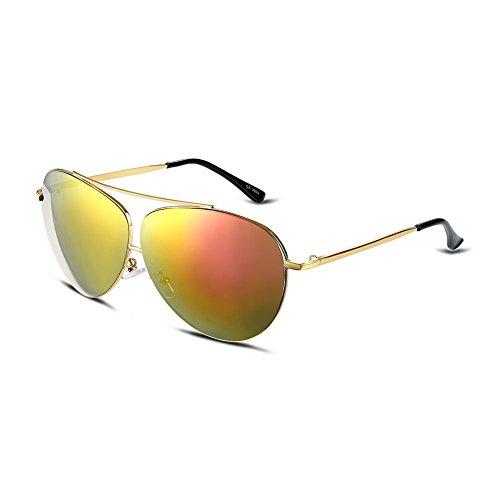 iLove EU Herren Sonnenbrille Pilotenbrille Gold Rot Gläser Gold Metallrahmen Aviator Wayfarer Frosch Spiegel Brille