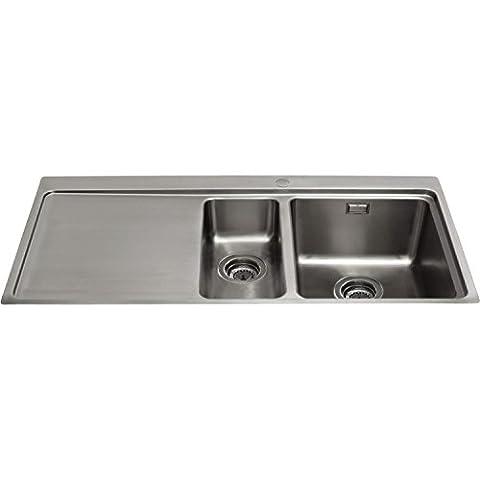 CDA KVF22LSS Designer One And A Half Bowl Sink Flush Fit - Left Hand Drainer