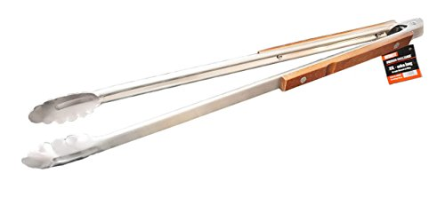 CAGO Premium XXL Grillzange - Extra Lang 56 cm, Edelstahl Holz Zange BBQ Besteck