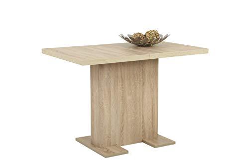 Moderner Ausziehbarer Esstisch (Säulenesstisch Britt, Holzwekstoff Dekor Sonoma Eiche, ausziehbar, 110-150x69x76 cm)