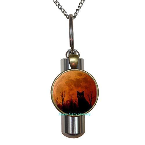 Halskette mit Anhänger, Motiv Katze, Halloween-Logo, Urne, handgefertigt, Harz, Charmante Urne, Geschenk für Frauen und Männer, Q0297 ()