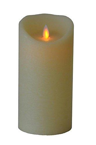 Große & Dicke LED Kerze - Creme - Höhe: 20cm / Ø 10cm - Material: Echtwachs - Batteriebetrieben - Mit Timer Große Durchmesser Flammenlose Kerzen