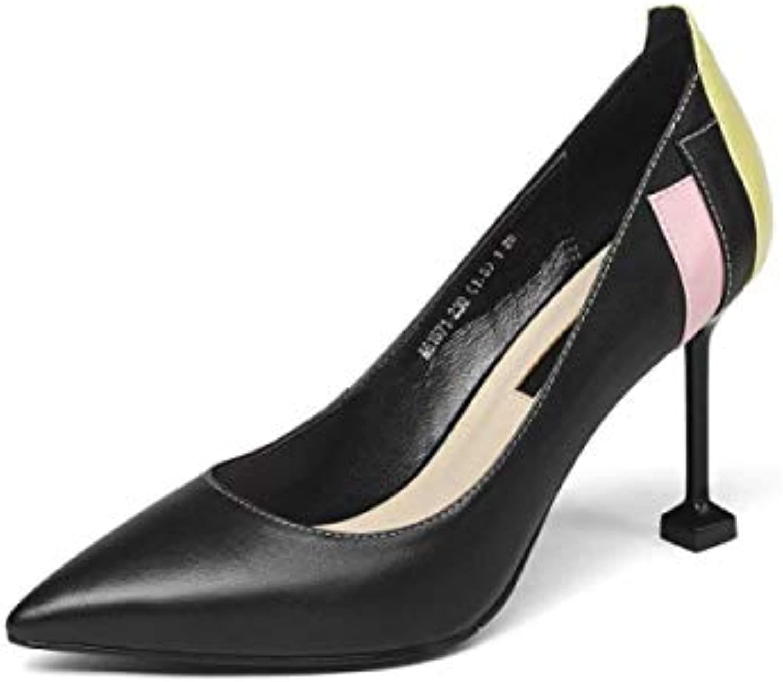 Printemps Shallow High Heels l'europe Les Etats-Unis Etats-Unis Etats-Unis Chaussures en Cuir (coloré : Noir, Taille : 35)B07JW8VZNYParent 2a9594