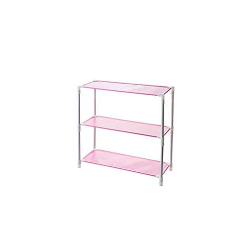 ZI LING SHOP Eisen-Multilayer-Montage-Schuhe Home-Schlafsaal Einfache Wohnzimmer-Schuh-Schuh-Schuh-Zahnstange Shoe rack ( Farbe : Pink ,...