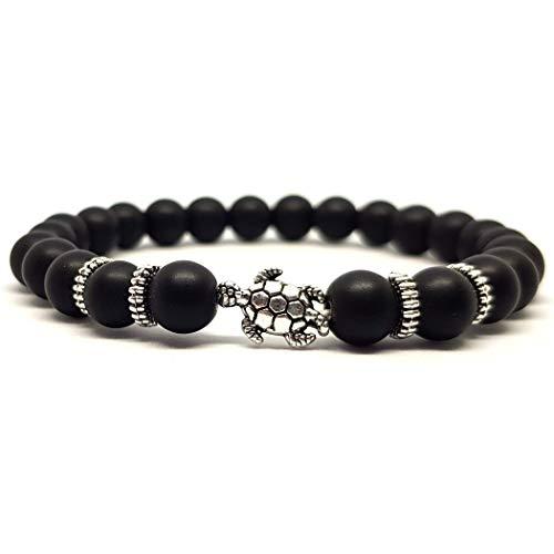 KARDINAL.WEIST Naturstein Perlenarmband aus Onyx mit Tier Charm Perle, Yoga-Schmuck für Damen und Herren, Energie Armband (Schildkröte)