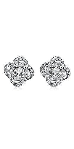 125813228 hosaire pour femme tendance en cristal 4 feuilles Herbe Boucles d'oreilles  clous en argent