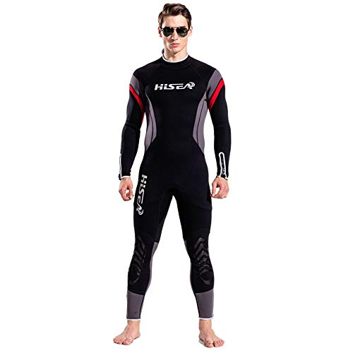 LOPILY Herren Wetsuit Surfbekleidung Neoprenanzug Schwimmen Surfen Tauchen Sport Badeanzug Badebekleidung Tauchanzug Wassersport Anzug Schnelltrocknend(Schwarz,S)