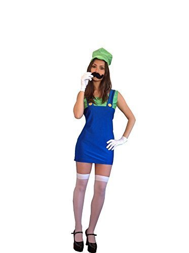 Damen Damen Mario Luigi Klempner verkleiden Kostüm XL (Frauen: 16-18, Luigi / (Luigi Prinzessin Mario Kostüme)