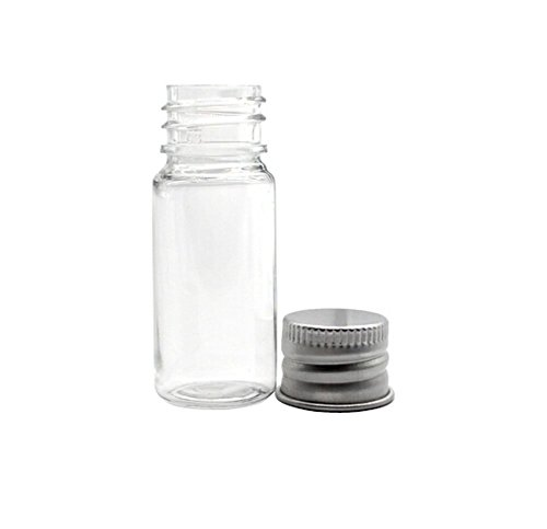 PET Transparent Plastic Jars for Cosmetics Travel Essential Oils Powders Creams Ointments Grease Small Container Jars with Aluminum Silver Lid Pack of 6pcs (15ml)