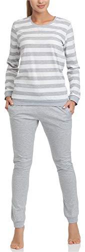 Cornette Pijama Conjunto Camiseta y Pantalones Ropa de Casa Mujer M4LL6 (Blanco/Melange, S)
