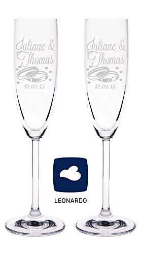Leonardo Sektgläser mit Gravur von Namen & Datum im - Wedding Design - als Geschenk zur Hochzeit, Hochzeitsgeschenke für Brautpaar - Personalisierte Geschenke - das perfekte Hochzeitsgeschenk