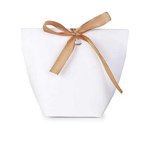 Serwoo (5.7 * 5.7 * 10 cm) 50pz scatole scatoline bomboniere portaconfetti per regalo matrimonio compleanno battesimo festa natale laurea (50pz bianco diy)