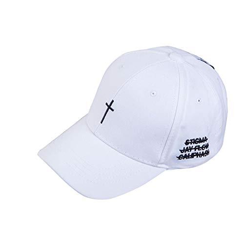 YUANBAOG Hut Kappe Kreuz Gürtel Baseball Cap Männer Frauen schwarz Stickerei Brief Papa Hut lässig verstellbare Streetwear Trucker Hat,Weiß