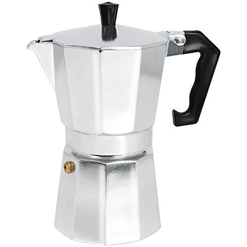 COM-FOUR Espressokocher bis zu 6 Tassen, Aluminium (01 Stück - Espressokocher)