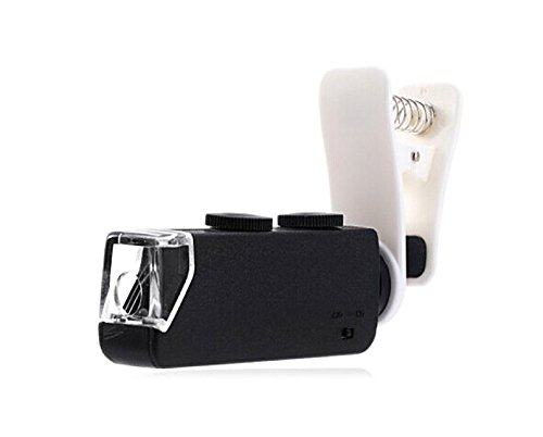 Meres 60-100x optischer Zoom Handy LED Taschen Mikroskop Objektiv mit Universalklemme Halteklaue für iPhone 6/6 Plus/5/5 C/5S/4/4S, Samsung Galaxy S5 G900H/S4 i9500/S3 i9300/Note 2/Note 3/Note 4, htc