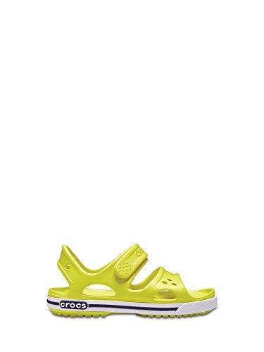 Crocs sandalo giallo fluo realizzato in gomma, con chiusura a strappo, unisex bambino, bambina, ragazzo, ragazza-20-21