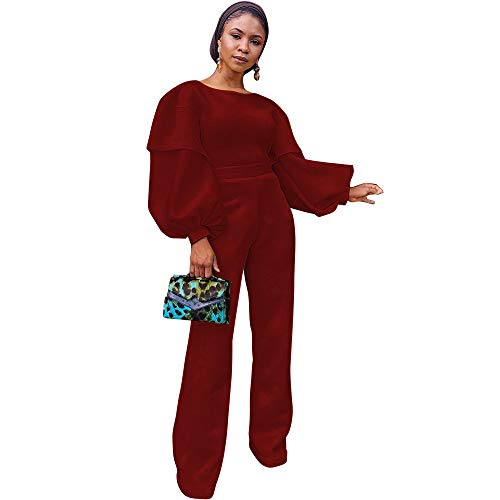 Sijux Frauen Sexy Laterne Ärmel Overalls Weibliche Hohe Taille Herbst Winter Verband Strampler Catsuit Party Clubwear,Red,M