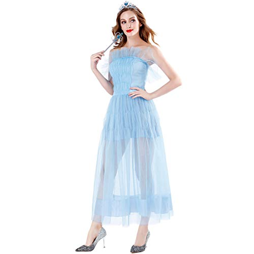 Halloween Gericht Prinzessin Kostüm, Cosplay Weiß Schnee Prinzessin Sexy Langen Rock Königliche Damen Kleid Phantasie Cocktail Party,Blue,M (Weiss Schnee Cosplay Kostüm)