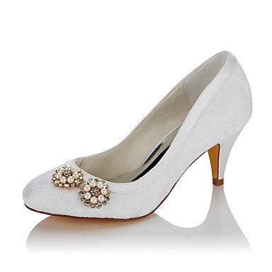 Rtry Femmes Chaussures De Mariage En Satin Confort Automne Hiver Party Wedding & Amp; Robe De Soirée Confort Imitation Perle Cône Blanc Talon 2a-2 3/4 Blanc Noi6.5-7 / Eu37 / Uk4 5-5 / Cn37 Us4-4.5 / Eu34 / Uk2-2.5 / Cn33