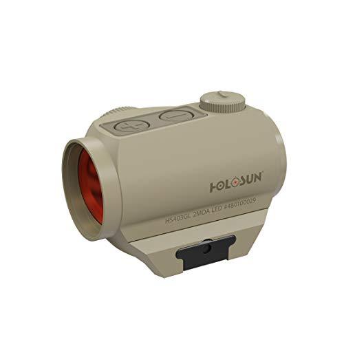 Holosun HS403GL-FDE Microdot Rotpunkt Visier mit 2MOA Punkt Absehen, FDE, Picatinny/Weaver Schiene, für die Jagd, Sportschießen und Softair, Tactical Micro red dot Sight - 70135121