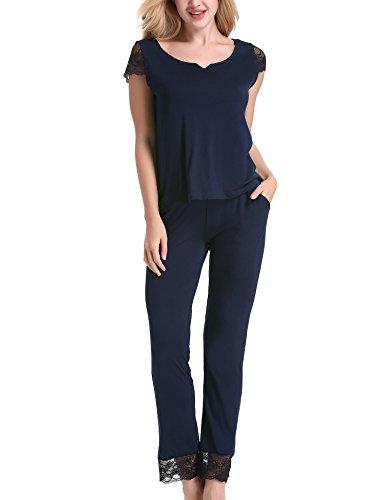 Yulee Women's 2 Piece Short Sleeve Sleep Shirt With Long Pants Pyjama Set S-XXL