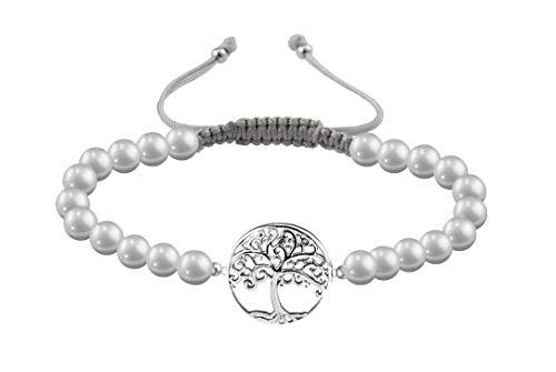 Imagen de papoly® pulseras de perla natural de agua dulce con detalle de plata de plata de ley 925, medida facil de ajustar con cierre de hilo macrame hecho a mano. pu arbol g