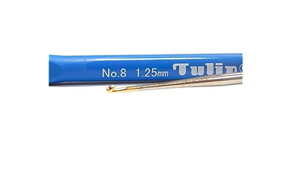 Perlin Tulip H/äkelnadeln mit Goldener Spitze und elastischem Stiel 2,10mm No 0 Edelstahl