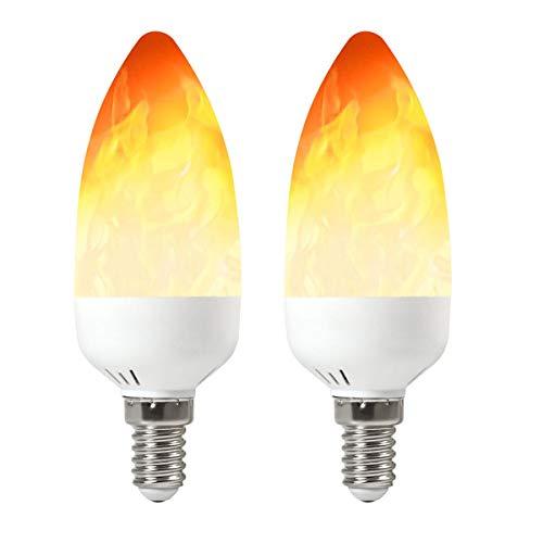 GRANVOO 2-er Pack E14 LED Flammen Lampe 2W LED Leuchtmittel Flammenfarbe 25lm 28X2835 SMD AC 85-265V