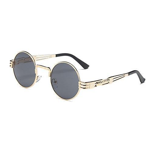 Gafas de Sol Unisex Sannysis Gafas de sol de de lente espejo con marco de metal de gato retro vintage de verano Aviador de moda unisex de viaje gafas de sol hombre polarizadas (Gris)