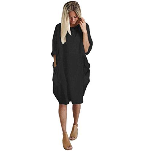 QinMM Damen Tasche Loose Dress Damen Rundhalsausschnitt Lässig Lange Oberteile Kleid Plus Size Party Kleid Club Kleid Stylish Vintage Grau Armeegrün Schwarz S-XL (S, Schwarz) -