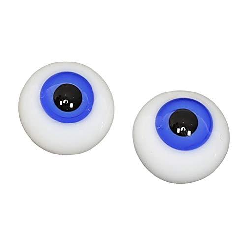 FLAMEER 1 Paar 14mm Acryl Sicherheitsaugen Kunststoffaugen Augäpfel Für 1/4 BJD Puppe, Halloween Maske DIY Herstellung Zubehör - Blau