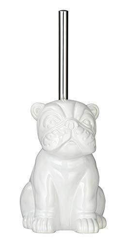 Wenko WC-Garnitur Bulldog Toilettenbürstenhalter, Keramik, Weiß, 15 x 69 x 20 cm