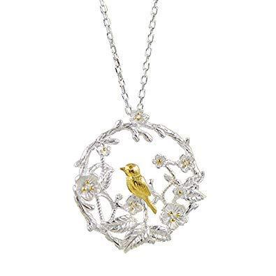 SODIAL Nouvelles Arrivees Oiseau prune Branche des fleurs Branche Colliers & Pendentifs pour femmes Mode bijoux en argent sterling
