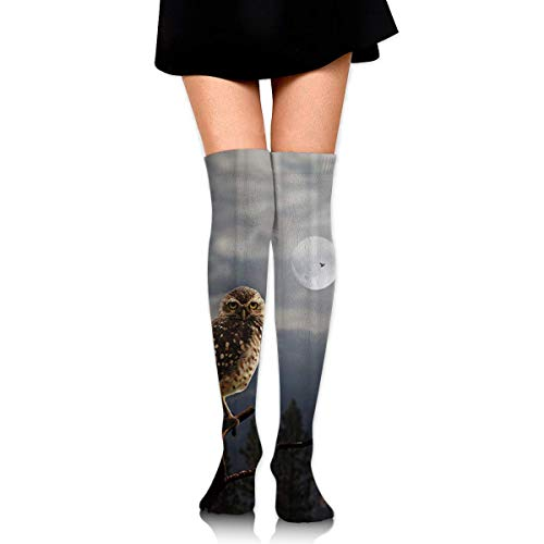 DGHKH Night Full Moon Bright Sky Owl Knee High Graduated Compression Socks for Unisex - Best Medical, Nursing, Travel & Flight Socks - Running & Fitness (Night Cosplay Owl)