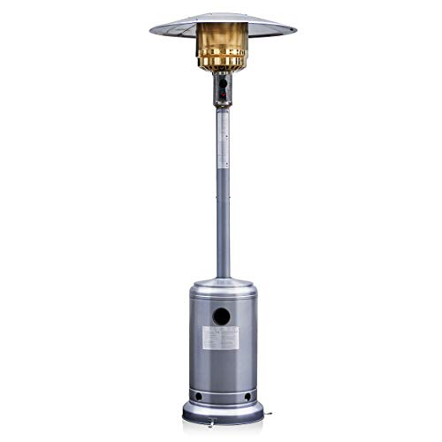 Costway 1300W Gas Patio Heater Stainless Steel Outdoor Garden Fire Pit (Silver Gray)