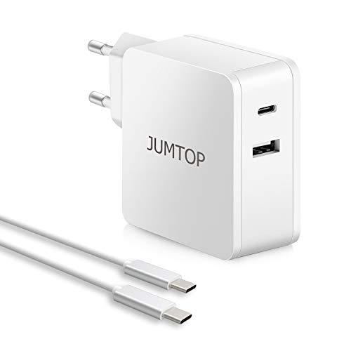 JUMTOP 2 Porte Quick Charge 3.0 Caricatore USB 60W 5V 2.4A Caricabatterie USB da Parete Alimentatore da Viaggio per Tutti i dispositivi iOS e Android