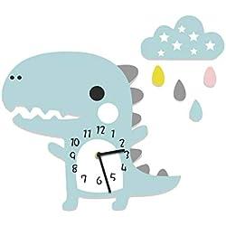 Chenqi Decoraciones estéreo del Reloj del Colgante de Pared del Dinosaurio 3D para los niños de los niños de la Oficina en casa