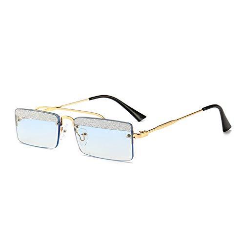 MJDABAOFA Sonnenbrillen,Kleines Quadrat Retro Sonnenbrillen Für Frauen Gold Frame Blaue Linse Two-Tone Shining Gradient Objektiv Sonnenbrillen Für Männer