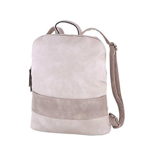 Sina Jo Damen Rucksack 744 modischer Cityrucksack zweifarbig aus Kunstleder für Mädchen und Damen 32x30,5x10cm (Powder)