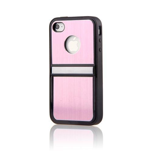 Generic 3-in-1 Hartschale aus Aluminium mit Ständer aus Chrom, Displayschutz und Stylus Eingabestift für iPhone 4/4S, Bunt I Phone 4s Fällen Kartenhalter